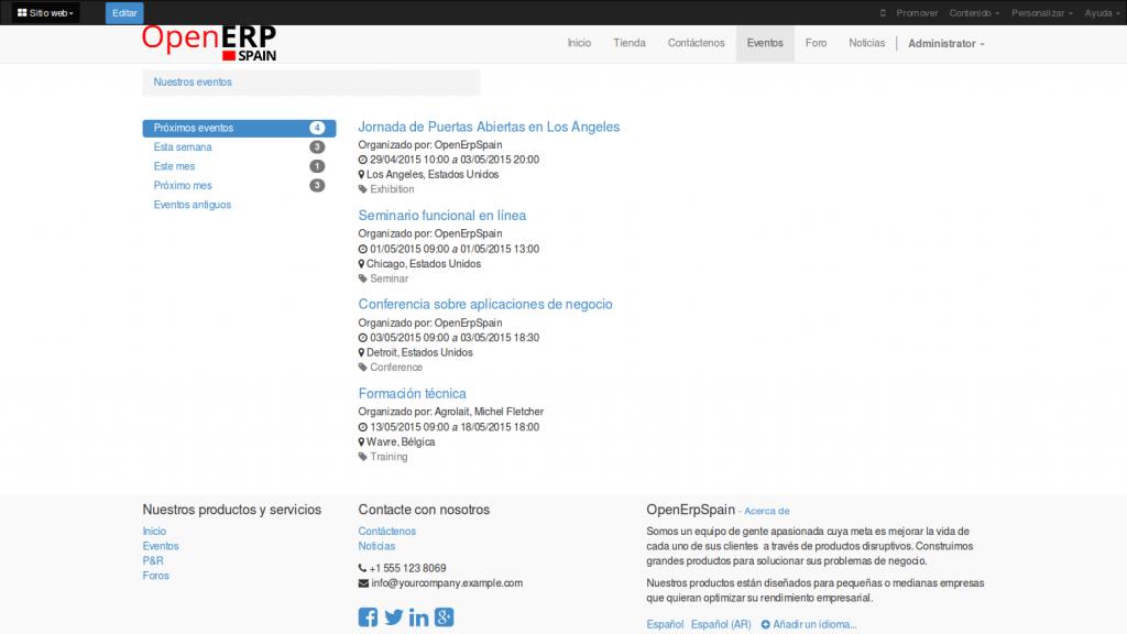 Planificación de Eventos Online con OpenErp 8.0 (Odoo)