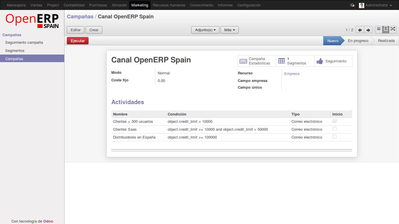 Gestión de Campañas de Marketing con OpenErp (Odoo)