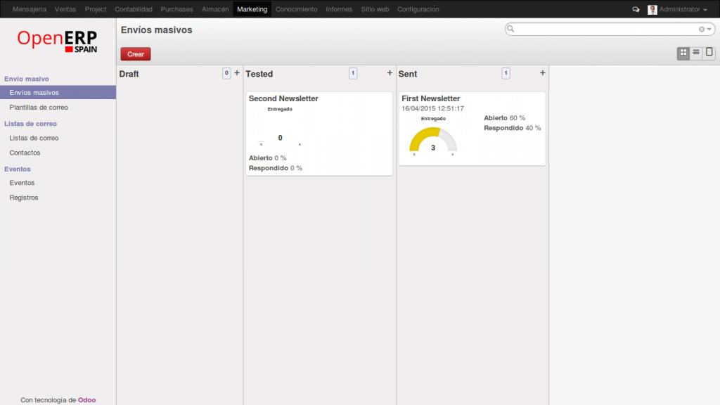 Newsletters. Estadísticas en tiempo real. OpenErp 8.0 (Odoo)