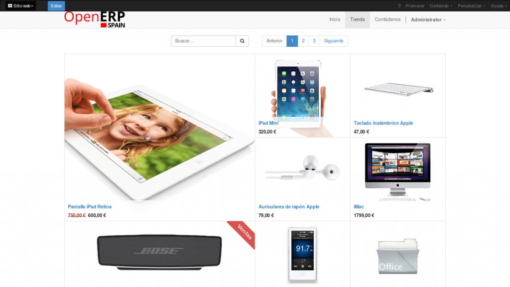 Ecommerce (tienda online) de OpenErp 8 (Odoo)